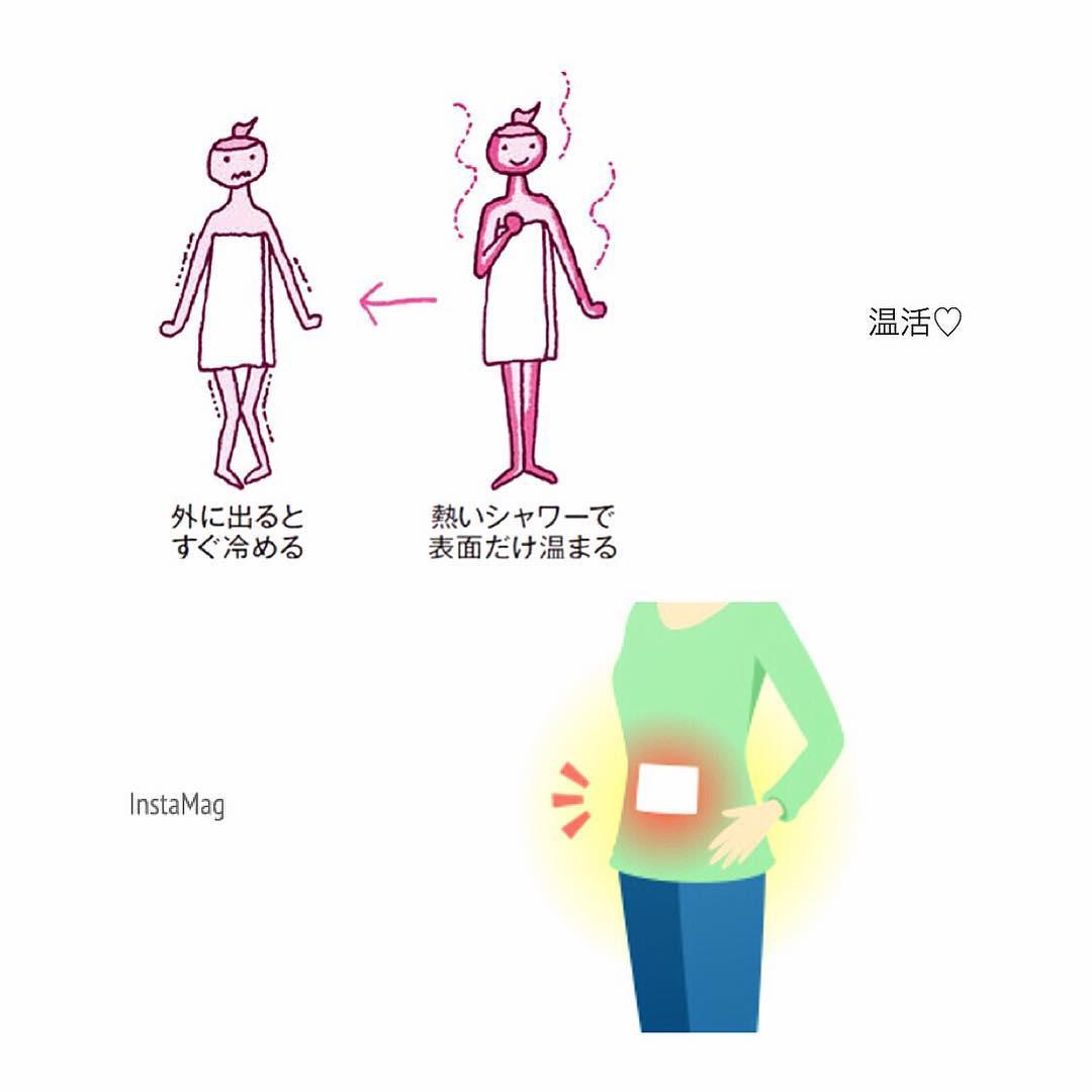 温活ってご存知ですか?? 体温を1度上げる活動のことなんです!  体温が下がると身体のめぐりが悪くなり、 ●くすみ、しわ、しみ ●太りやすい といった原因となっています!  お家で出来る温活方法をご紹介♡ ●お風呂にゆっくり浸かる →シャワーのみでは表面のみの温めで、 すぐに水分が蒸発します 芯から温めて保温しましょう! ●腹巻 または お腹にカイロを貼る →体内の3/4の血流がお腹を通ります! お腹を温めるだけでつま先までポカポカに  温め上手になって 綺麗なボディを目指しましょう♡